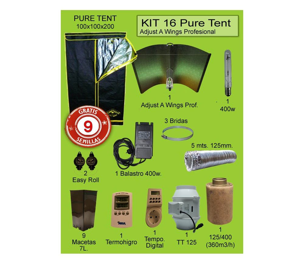 KIT 16- PURE TENT 1MX1MX200 ADJUST A WINGS 400W