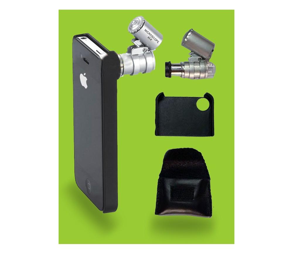 MICROSCOPIO MINI LED 45X + ADAPTADOR IPHONE