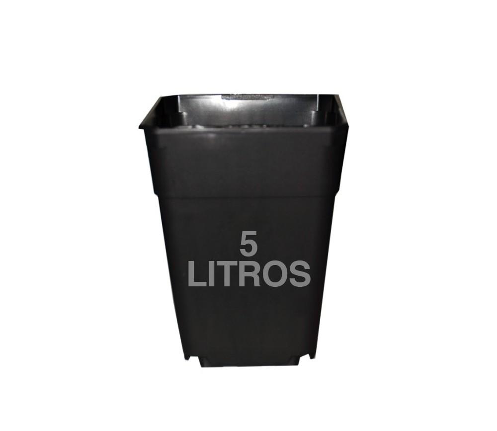Maceta cuadrada negra de plástico duro 18X18X23 5L