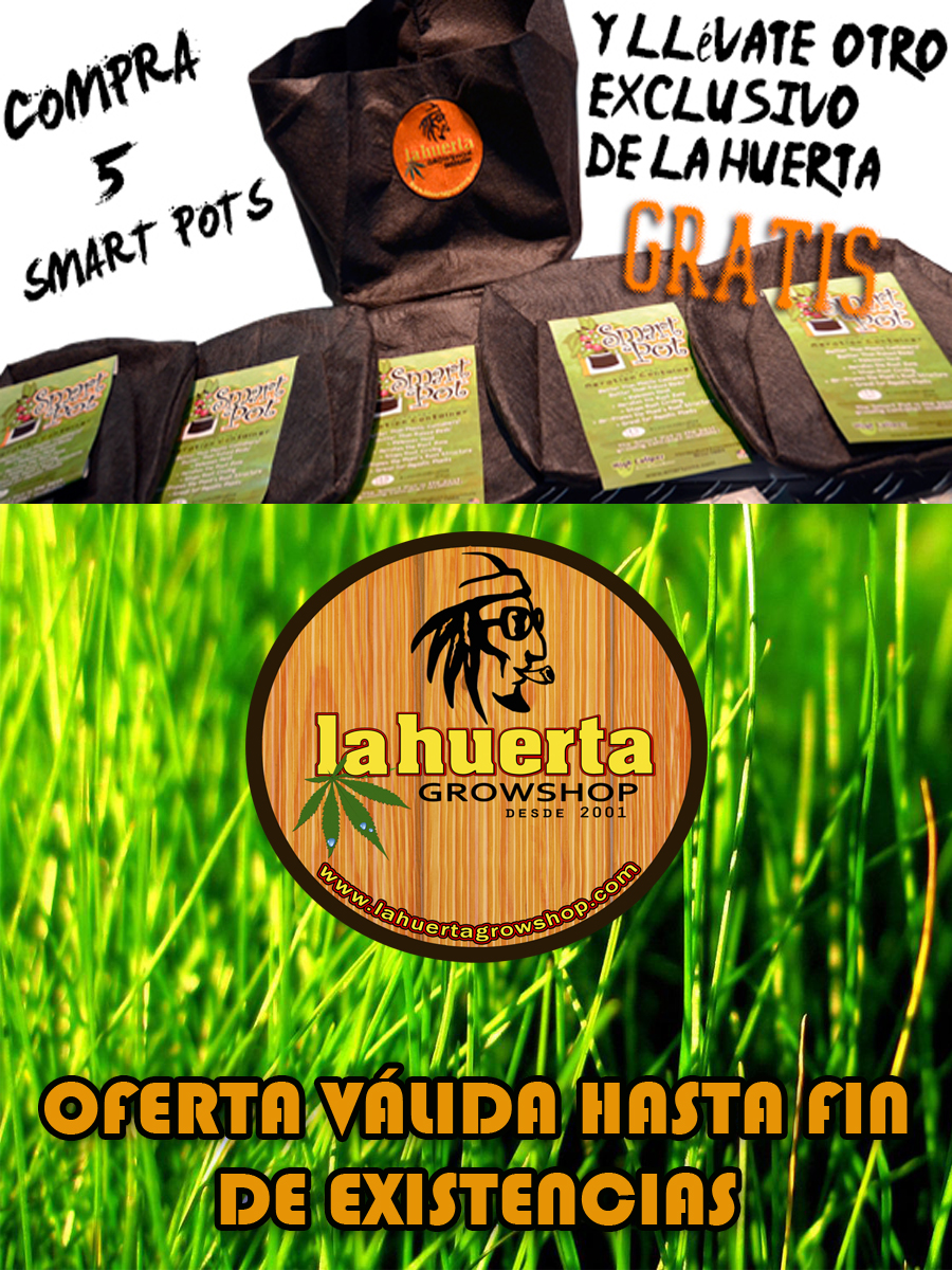 Compra 5 Smart Pot y te regalamos 1 Smart Pot con el logo de La Huerta Grow Shop !